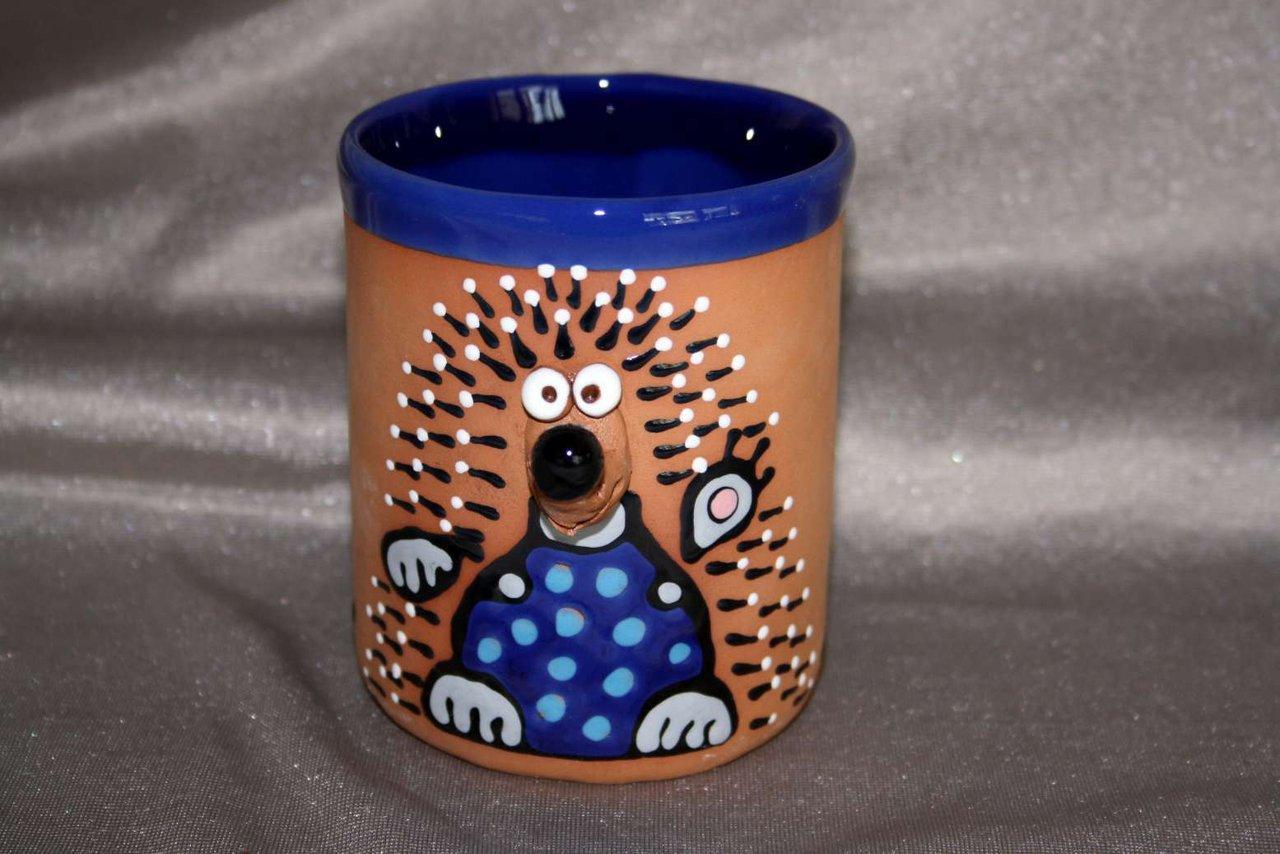 Keramik Becher Mit Henkel Motiv Igel Blau Kunst Handwerk Aus Ton